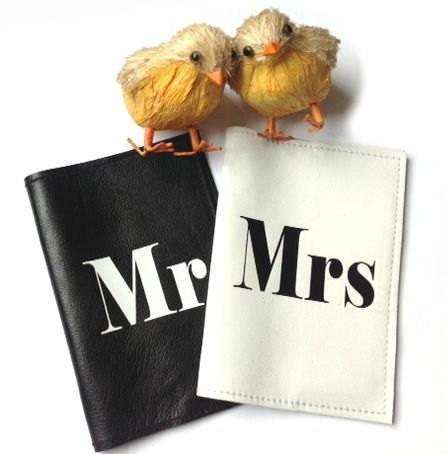 Mr & Mrs Leather Passport Cover Set