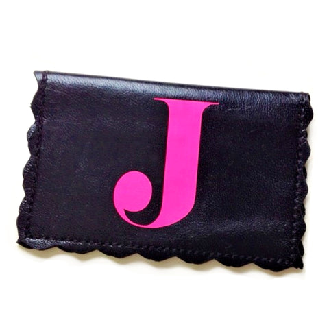 Scalloped Personalized Leather Business Card & Credit Card Holder - bambinadicioccolato