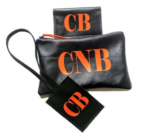 Monogrammed Leather Travel Accessories Set