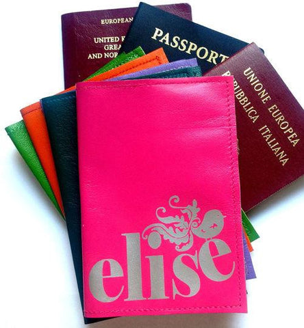 Name Personalized Leather Passport Cover With Birdie