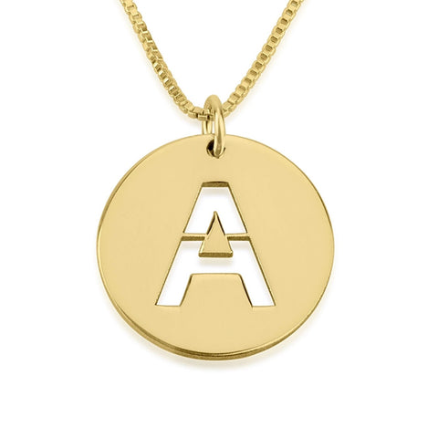 Cut Out 24K Gold Plated Personalized Initial Disc Necklace