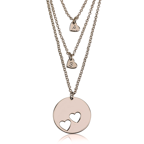 Rose Gold Plated Layered Cut Out Personalized initial Hearts Necklace