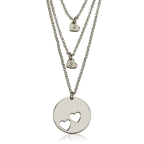 Layered Engraved Personalized Initial Silver Heart Necklace