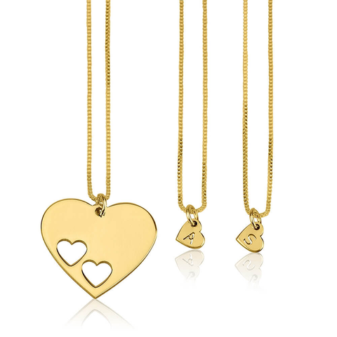 Gold Plated Floating Hearts Personalized Initial Necklaces Set