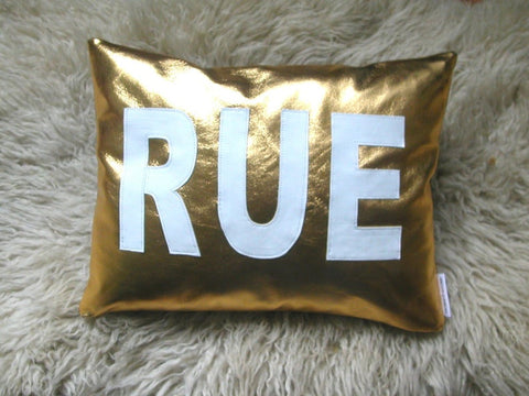 Small Personalized Leather Name Pillow