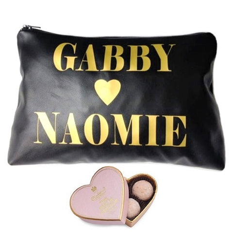 Personalized Names Leather Toiletry & Makeup Bag With Heart - bambinadicioccolato
