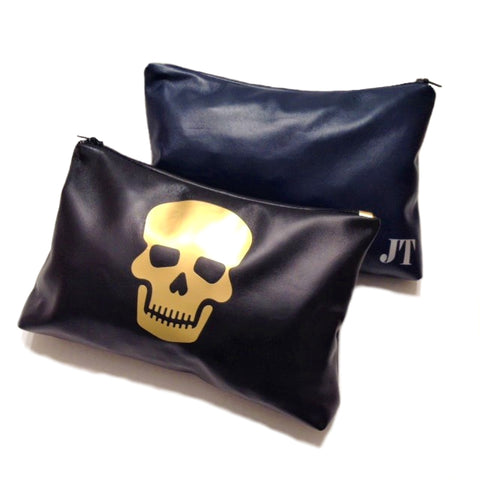 Skull Personalized Monogram Leather Cosmetic & Toiletry Bag