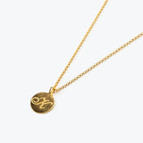 Personalized Gold Initial Round Necklace - bambinadicioccolato