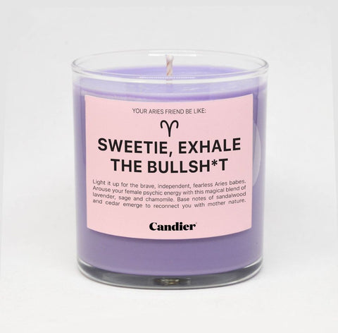 Sweetie Exhale The Bullsh*t ARIES ZODIAC CANDLE - bambinadicioccolato