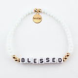 BLESSED - Beaded & Crystal Message Bracelet - bambinadicioccolato
