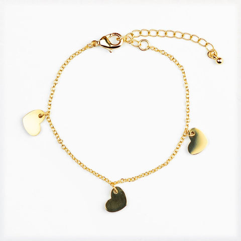 GOLD PLATED HEARTS ON A CHAIN BRACELET - bambinadicioccolato