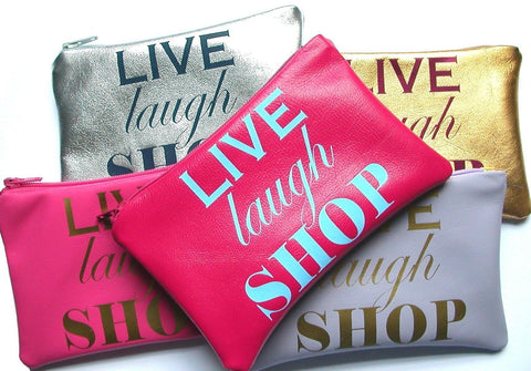 Live Laugh Shop Leather Change Purse