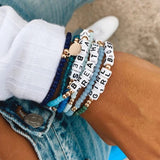 BREATHE - Beaded & Crystal Message Bracelet - bambinadicioccolato