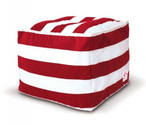 Indosoul Square Ottoman St Tropez Red/white