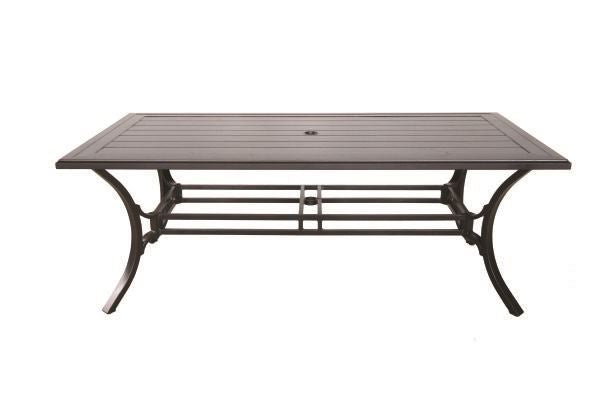 Portica Center Ring Slat Rectangular Dining Table By Sunvilla