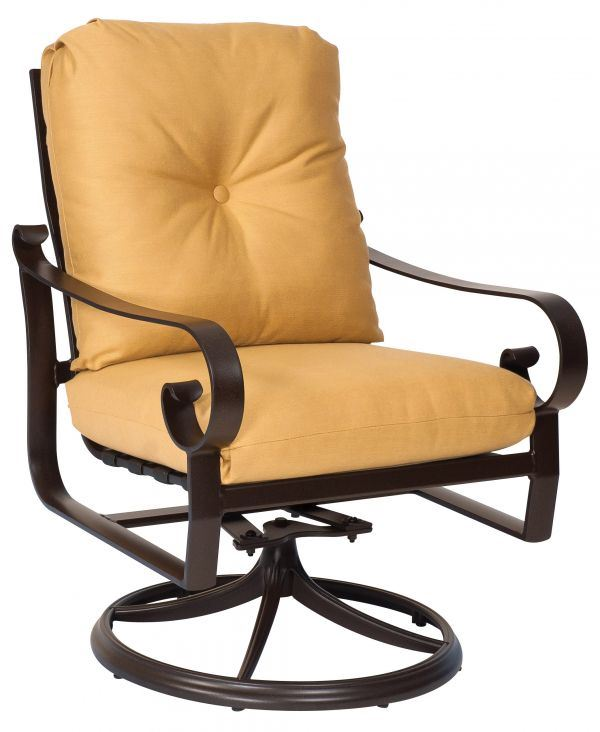 Woodard Belden Cushion Swivel Rocker Dining Chair