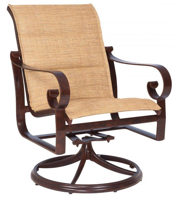 Woodard Belden Padded Sling Swivel Rocker Dining Chair