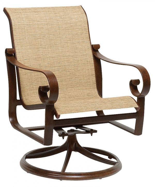Woodard Belden Sling Swivel Rocker Dining Chair