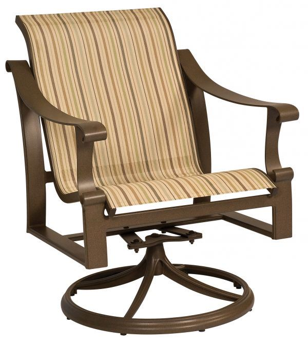 Woodard Bungalow Sling Swivel Rocker Dining Chair