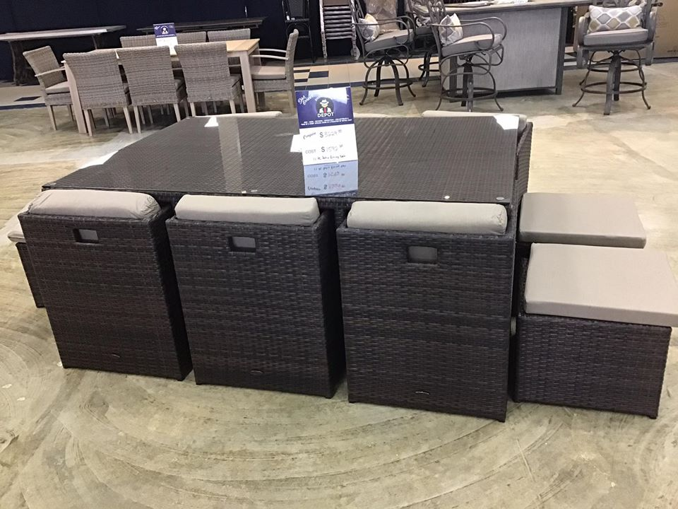 11pc dining patio set $1592 compared to $3229