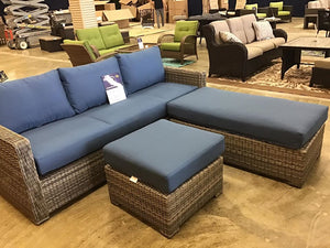 Blue 3pc patio set $962 compared to $1979