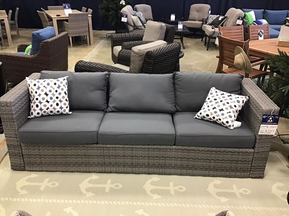 Patio sofa $537 compared to $1074 - pillows included