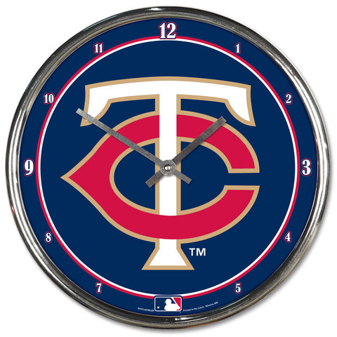 Minnesota Twins Clock Round Wall Style Chrome
