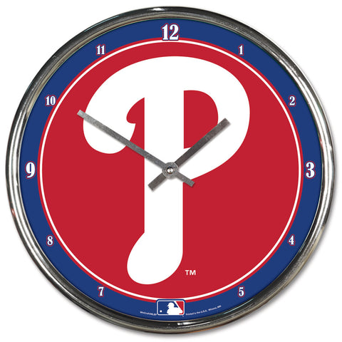 Philadelphia Phillies Clock Round Wall Style Chrome
