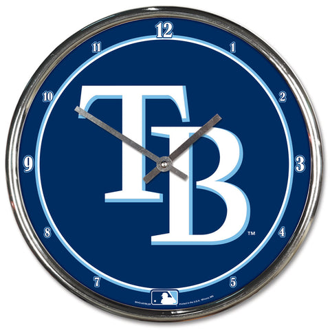 Tampa Bay Rays Clock Round Wall Style Chrome