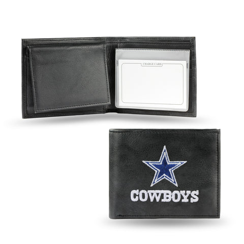 Dallas Cowboys Wallet Billfold Leather Embroidered Black
