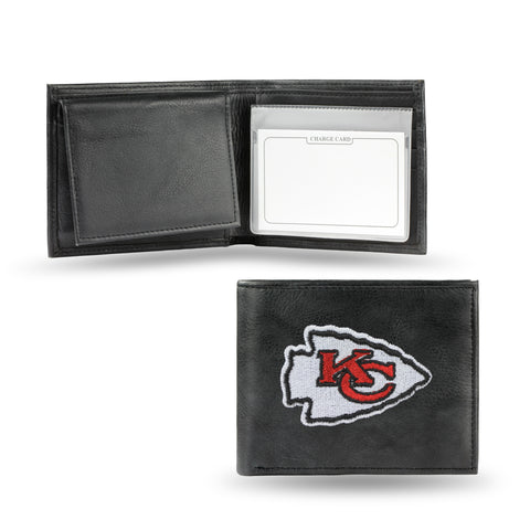 Kansas City Chiefs Wallet Billfold Leather Embroidered Black