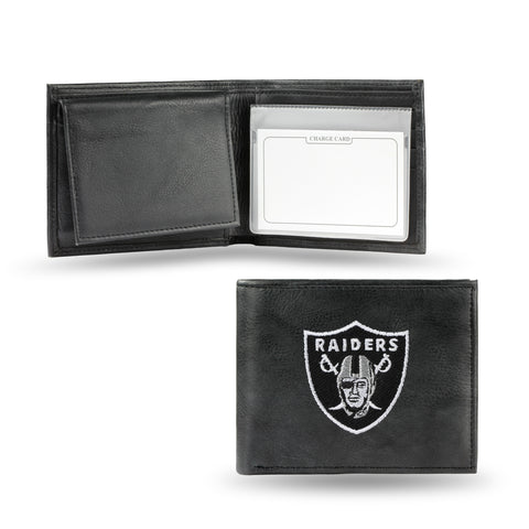 Oakland Raiders Wallet Billfold Leather Embroidered Black