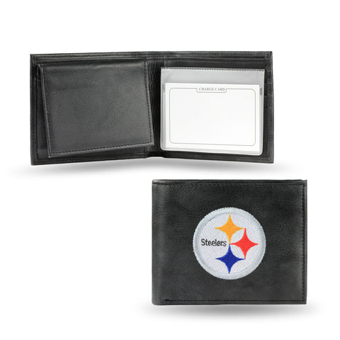 Pittsburgh Steelers Wallet Billfold Leather Embroidered Black