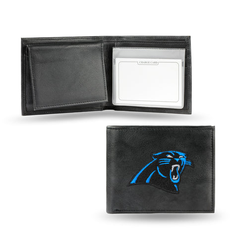 Carolina Panthers Wallet Billfold Leather Embroidered Black