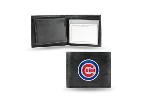 Chicago Cubs Wallet Billfold Leather Embroidered Black