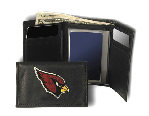 Arizona Cardinals Wallet Trifold Leather Embroidered
