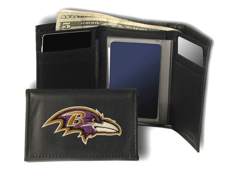 Baltimore Ravens Wallet Trifold Leather Embroidered