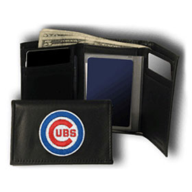 Chicago Cubs Wallet Trifold Leather Embroidered
