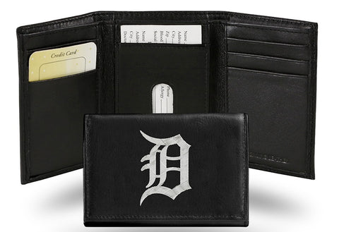 Detroit Tigers Wallet Trifold Leather Embroidered