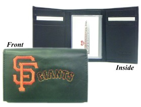 San Francisco Giants Wallet Trifold Leather Embroidered