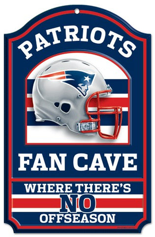 "New England Patriots Wood Sign - 11""x17"" Fan Cave Design"