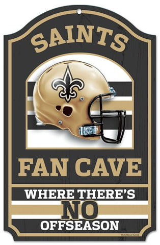 "New Orleans Saints Wood Sign - 11""x17"" Fan Cave Design"