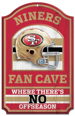 "San Francisco 49ers Wood Sign - 11""x17"" Fan Cave Design"