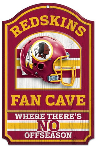 "Washington Redskins Wood Sign - 11""x17"" Fan Cave Design"