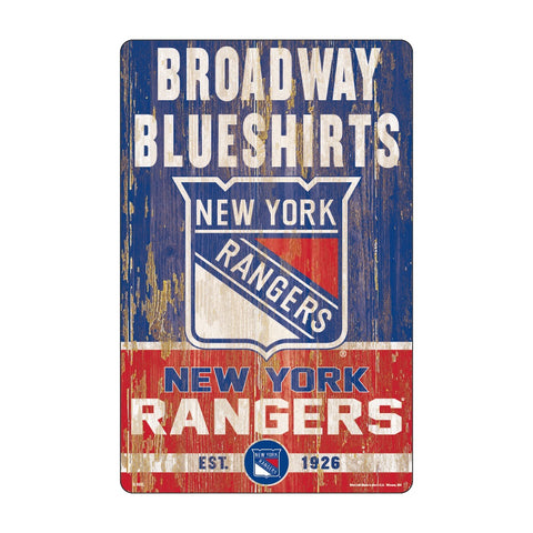 New York Rangers Sign 11x17 Wood Slogan Design