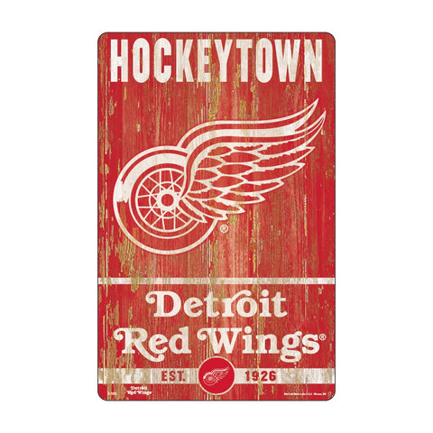 Detroit Red Wings Sign 11x17 Wood Slogan Design