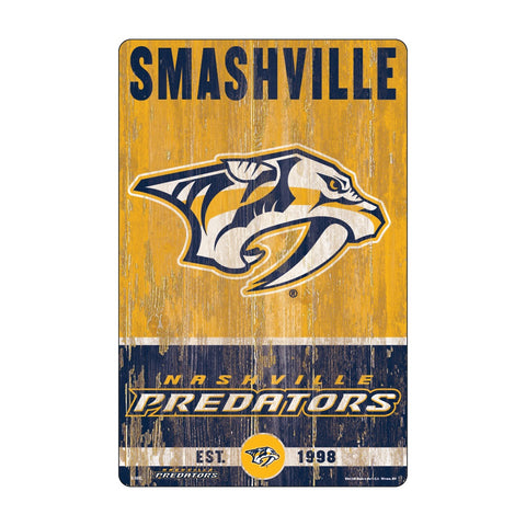 Nashville Predators Sign 11x17 Wood Slogan Design