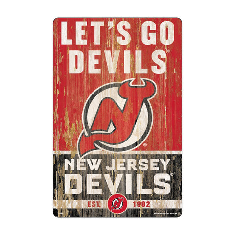 New Jersey Devils Sign 11x17 Wood Slogan Design