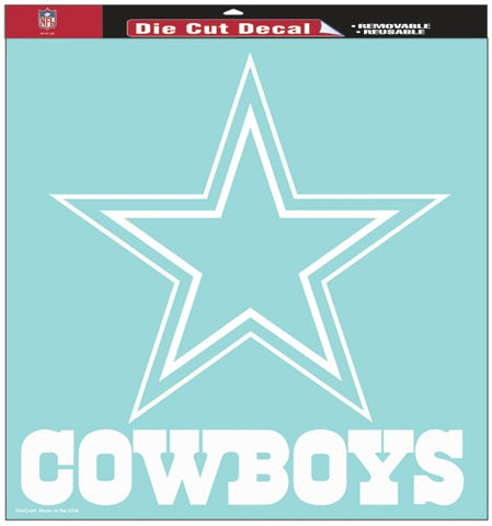 Dallas Cowboys Decal 8x8 Die Cut White
