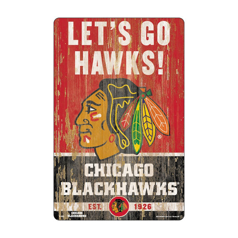 Chicago Blackhawks Sign 11x17 Wood Slogan Design